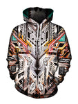 Trippy Boho Multi Colored Pullover Hoodie Front View