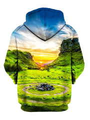Vivid Sunset Over Green Landscape Pullover Hoodie Back View