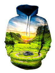 Vivid Sunset Over Green Landscape Pullover Hoodie Front View