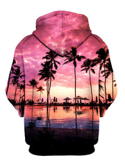 Pink Sun Setting Pullover Hoodie Back View