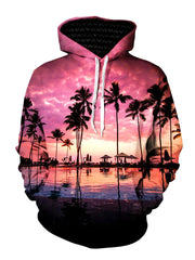 Pink Sun Setting Palm Tree Silhouette Pullover Hoodie Front View