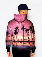 Model In Pink Sun Setting Pullover Hoodie Back View