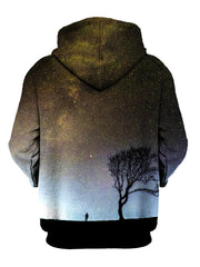 Silhouette of man and tree in space all over print pullover hoodie back view