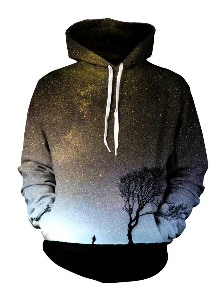 Silhouette of man and tree in space all over print pullover hoodie front view