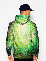 Model In Hippie Green Outdoors Pullover Hoodie Back View