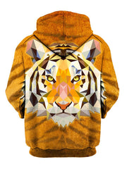 Psychedelic Tiger Face Pullover Hoodie Back View
