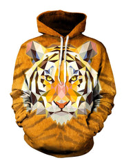Psychedelic Tiger Face Pullover Hoodie Front View