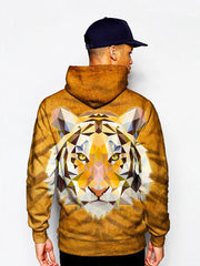 Model In Psychedelic Tiger Face Pullover Hoodie Back View