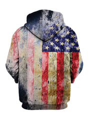 Tattered American Flag Pullover Hoodie Back View