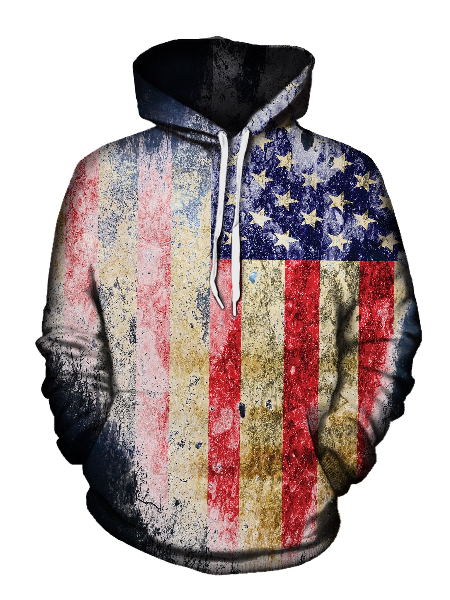 Tattered American Flag Pullover Hoodie Front View