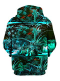 Psychedelic Tropical Green Pullover Hoodie Back View
