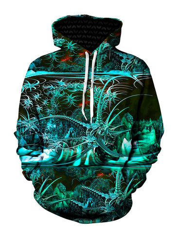 Psychedelic Tropical Green Pullover Hoodie Front View