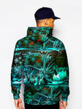 Model In Psychedelic Tropical Green Pullover Hoodie Back View