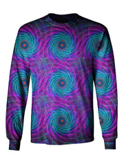 Gratefully Dyed Apparel Purple, blue & green geometric spiral fractal unisex long sleeve front view.