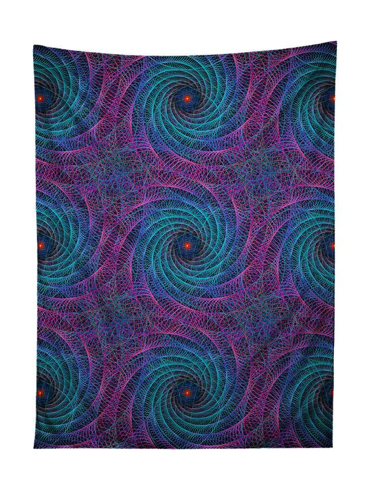 Vertical hanging view of all over print purple & blue geometric fractal tapestry by GratefullyDyed Apparel.
