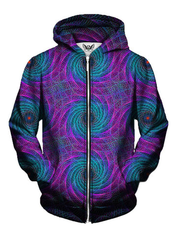 Men's purple & blue geometric spiral fractal zip-up hoodie front view.