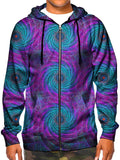 Model wearing GratefullyDyed Apparel psychedelic spiral fractal zip-up hoodie.