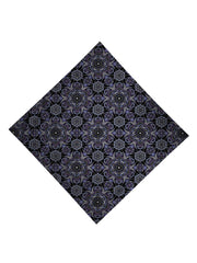 Trippy Gratefully Dyed Apparel black & gray sacred geometry bandana flat view.