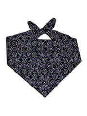 All over print black & gray sacred geometry bandana by GratefullyDyed Apparel tied neck scarf view.