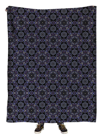 Hanging view of all over print gray & black sacred geometry blanket by GratefullyDyed Apparel.