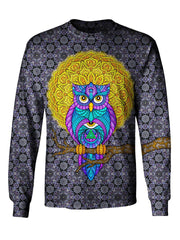 Gratefully Dyed Apparel blue, yellow & gray owl unisex long sleeve front view.