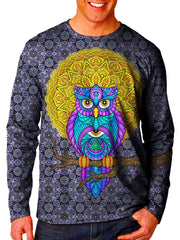 Front view of model wearing Gratefully Dyed Apparel owl unisex long sleeve.