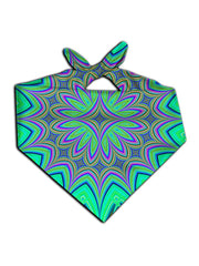 All over print purple & green flower mandala bandana by GratefullyDyed Apparel tied neck scarf view.
