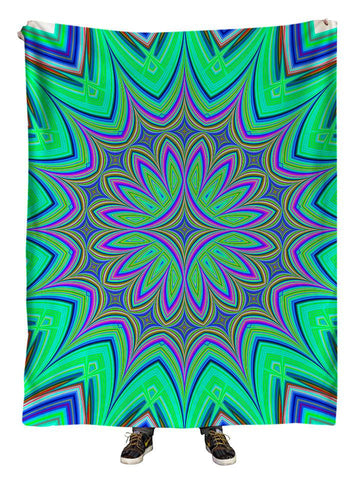 Hanging view of all over print green & purple flower mandala blanket by GratefullyDyed Apparel.
