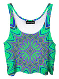 Trippy front view of GratefullyDyed Apparel green & purple flower mandala crop top.