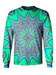 Gratefully Dyed Apparel purple & green flower mandala unisex long sleeve front view.