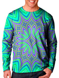 Front view of model wearing Gratefully Dyed Apparel flower mandala unisex long sleeve.