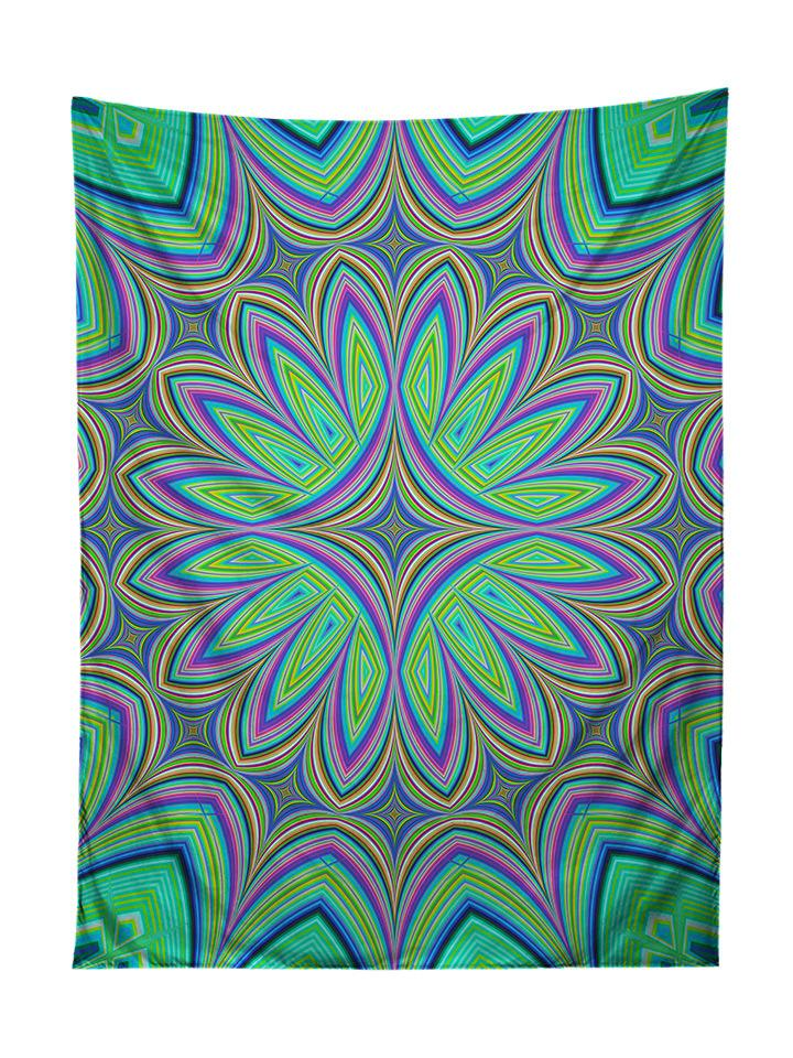 Vertical hanging view of all over print purple & green flower mandala tapestry by GratefullyDyed Apparel.