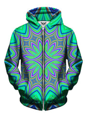 Men's green & purple flower mandala zip-up hoodie front view.