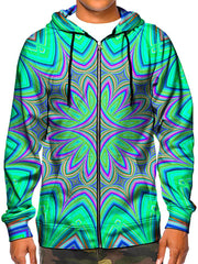 Model wearing GratefullyDyed Apparel psychedelic flower mandala zip-up hoodie.