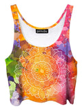 Trippy front view of GratefullyDyed Apparel rainbow watercolor mandala crop top.