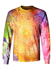 Gratefully Dyed Apparel rainbow watercolor mandala unisex long sleeve front view.