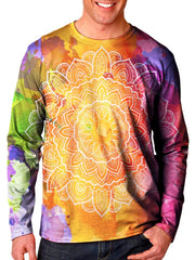 Front view of model wearing Gratefully Dyed Apparel watercolor mandala unisex long sleeve.