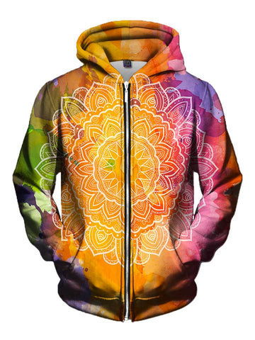 Men's rainbow watercolor with white mandala zip-up hoodie front view.