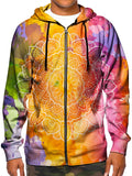 Model wearing GratefullyDyed Apparel psychedelic watercolor mandala zip-up hoodie.