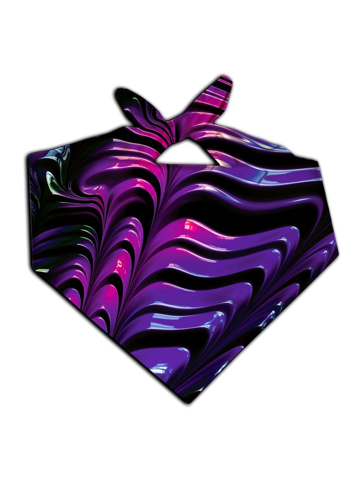 All over print purple paint wave bandana by GratefullyDyed Apparel tied neck scarf view.