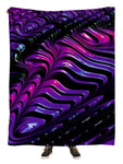 Hanging view of all over print purple, pink & black paint wave blanket by GratefullyDyed Apparel.