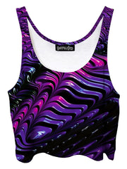 Trippy front view of GratefullyDyed Apparel purple & black paint fractal crop top.