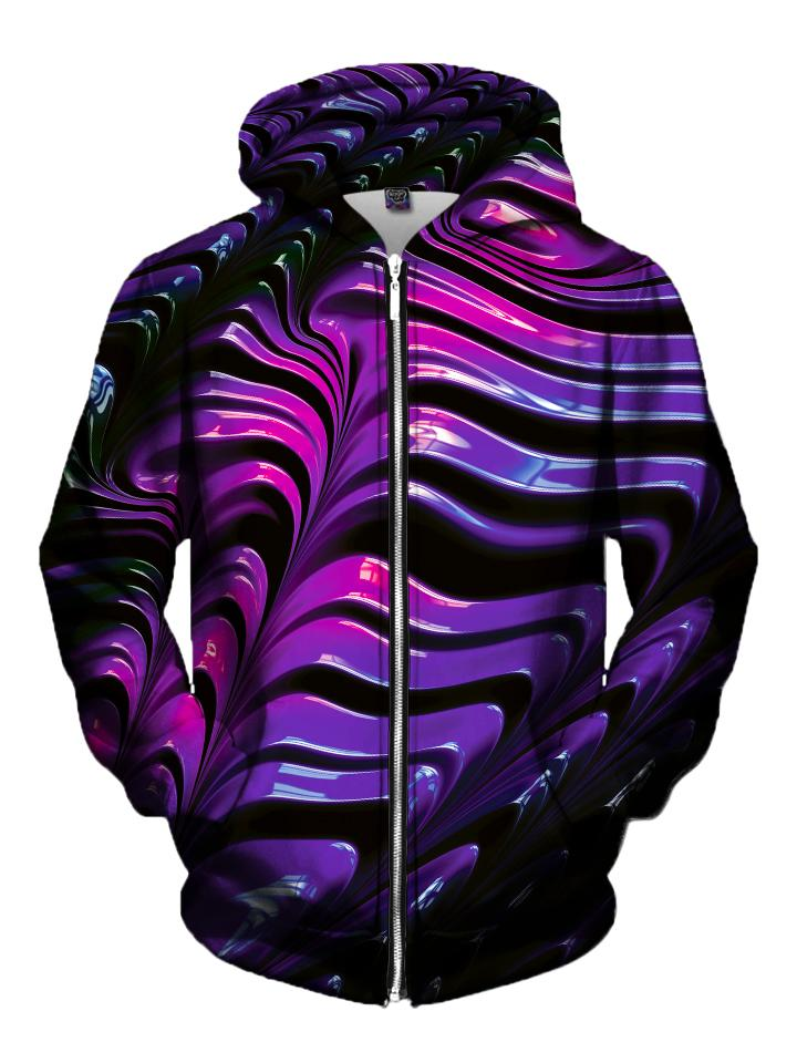 Men's black & purple silky paint texture zip-up hoodie front view.