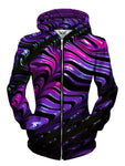 Front view of women's all over print texture zip up hoody by Gratefully Dyed Apparel.