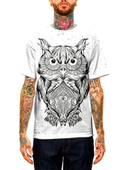 Model wearing GratefullyDyed Apparel black & white owl unisex t-shirt.