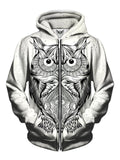 Men's white with black owl line drawing zip-up hoodie front view.