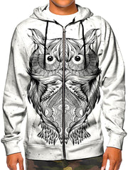 Model wearing GratefullyDyed Apparel psychedelic white owl zip-up hoodie.