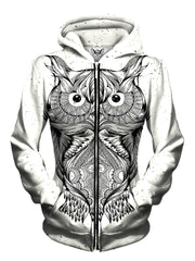Front view of women's all over print animal zip up hoody by Gratefully Dyed Apparel.