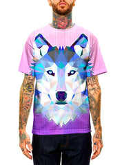 Model wearing GratefullyDyed Apparel pink, blue & white geometric wolf unisex t-shirt.