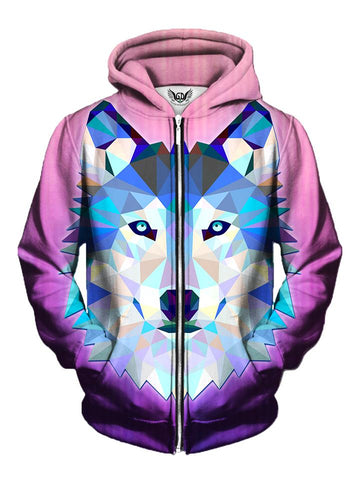 Men's pink with blue & white geometric wolf zip-up hoodie front view.